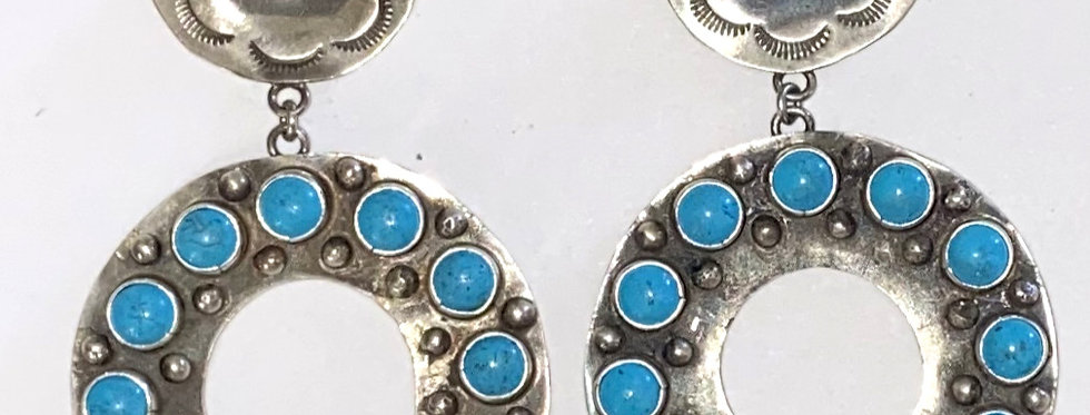 BLUE TURQUOISE CIRCULO EARRINGS