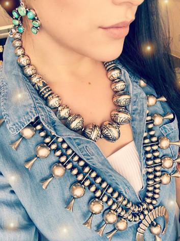 Squash Blossom and Navajo Pearls
