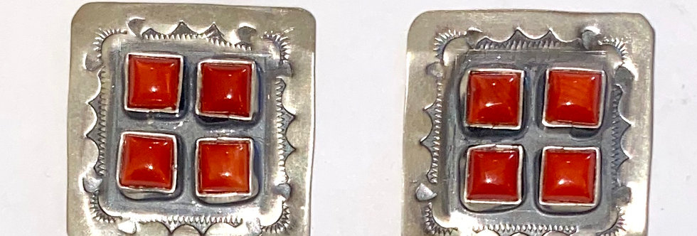4 STONE CLUSTER SQUARE EARRINGS-RC