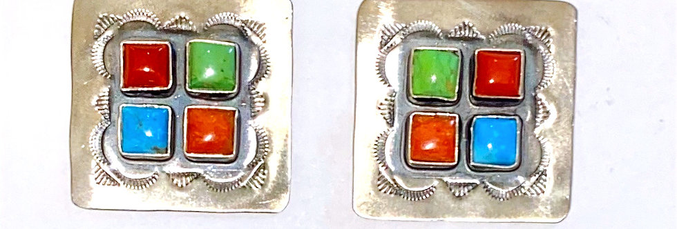 4 STONE CLUSTER SQUARE EARRINGS-MS