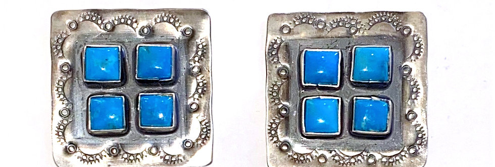 4 STONE CLUSTER SQUARE EARRINGS-DL