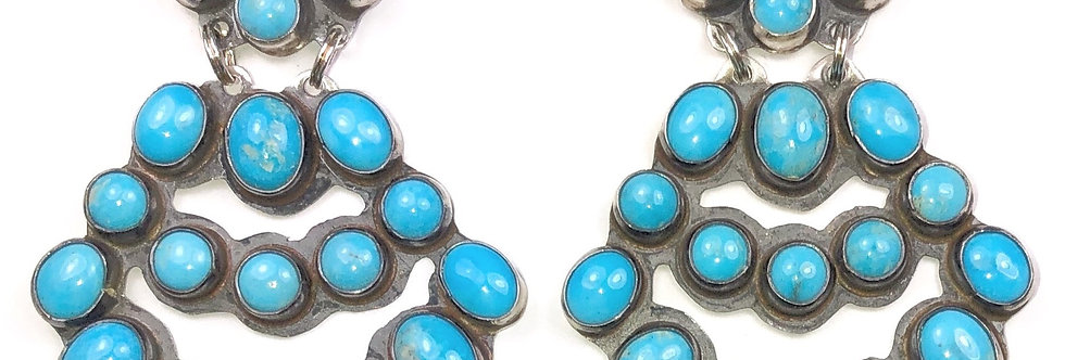 LARGE CHANDLEARRING-Blue Turquoise