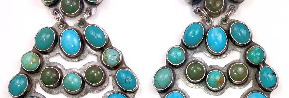 LARGE CHANDLEARRING-Multi Turquoise
