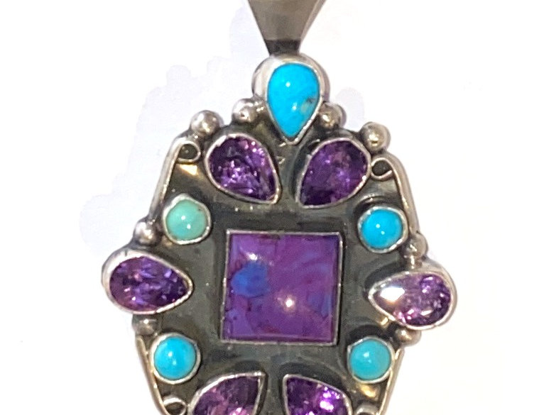 Surroundings Pendant-Purple and Turq