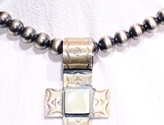 MOTHER OF PEARL SINGLE STONE CROSS