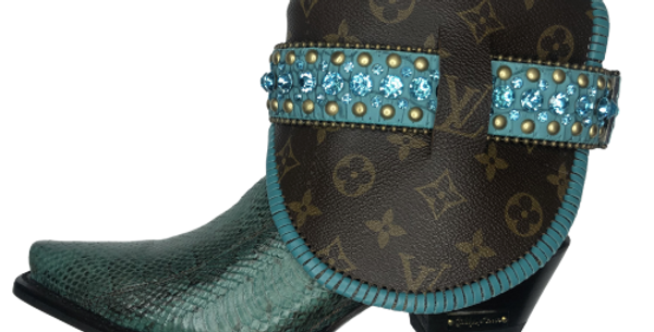 #461 Giddy Up Exotic Turquoise Stitched Louis Vuitton lined Boots size 8
