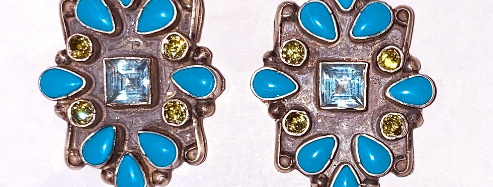 Surroundings Earrings- Aquamarine/Turq