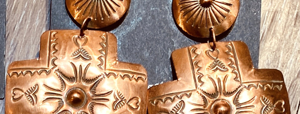 Copper crossed path earrings
