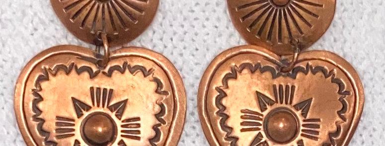COPPER HEART EARRINGS-SMALL