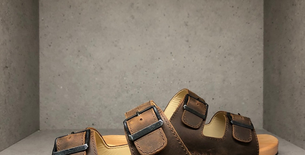 Locally Handmade Italian Straped Sandal - UNISEX - Tabacco