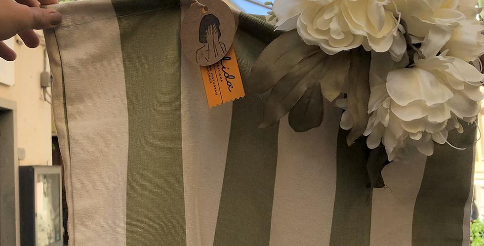 Handmade Green & White Striped Bag