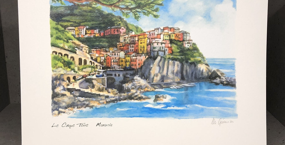 Watercolor Print Painting - Manarola