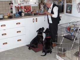 Vicky and Gem with Squibs getting Treats