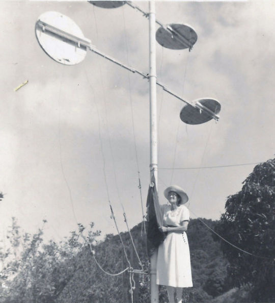 Marion Hassel of St. John's manning the signal station at St. John's. From that location the boatment of The Bottom could see when a ship was approaching the island, from which direction and the type of ship.