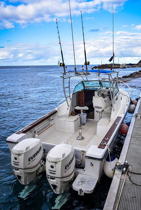 Catch-N-Tail' Charter fishing boat at Fort Bay Harbor Saba Dutch Caribbean