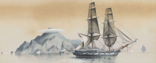 H.M.S. Martin part of a British fleet passing Saba in 1893. Painting by G.S. Good. Crown Copright: U.K. Government Art Collection