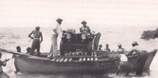 Saba's first motor vehicle arrives by boat at Fort Bay Harbor in 1947