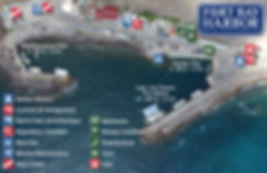 Over view of all facilities at the Fort Bay Harbor - Image and map desigb by malachy multimedia n.v.