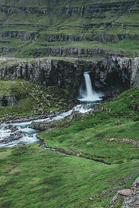 Unmarked waterfall on an unmarked road