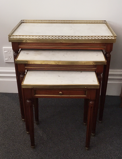 Louis XVI (1775-1790) Style Gigogne Tables - White Marble Top - SOLD