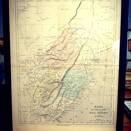 Framed 1800s Map of Natal (Southern Africa)