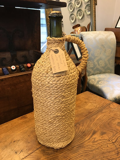 Green Wine Bottle in its original Straw Wrapping - SOLD