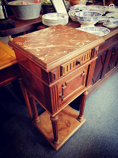 Brown Marble Top Bedside Cabinet - SOLD