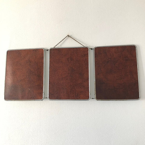 SOLD - 1960s French Barber's Mirror - Auburn Leather Effect on Back