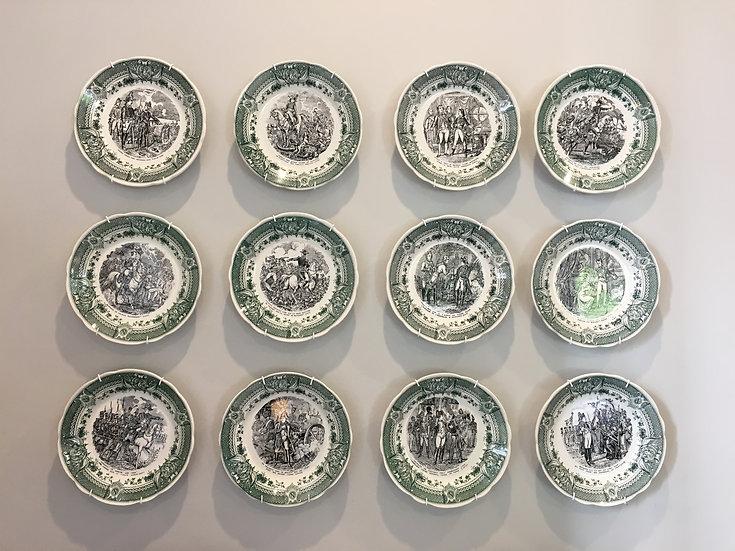 Set of 12 Decorative Porcelaine Plates from Sarreguemines Digoin, France - SOLD