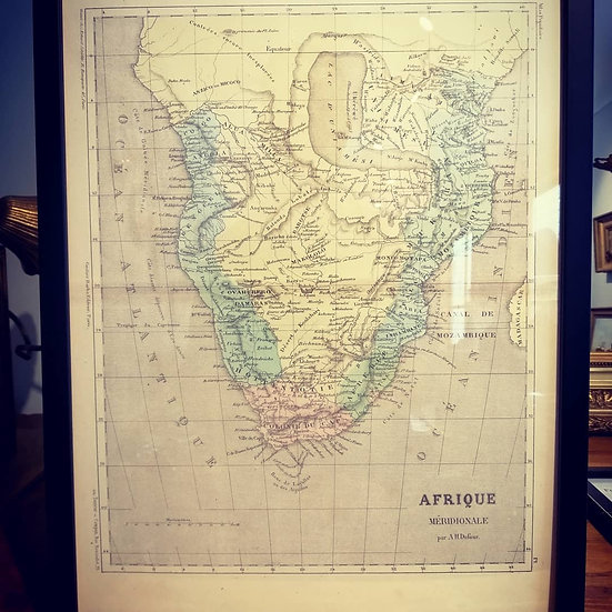 Framed 1800s Map of Southern Africa