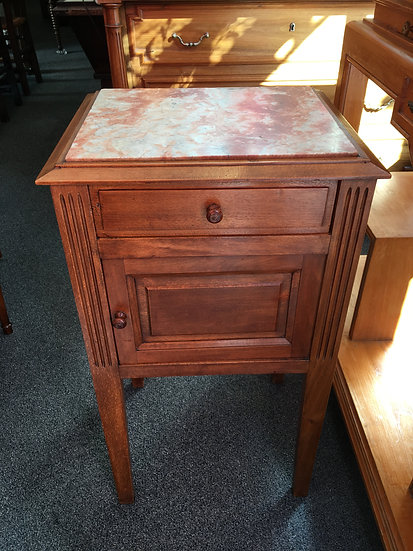 Bedside Table With Pink Marble Top - SOLD