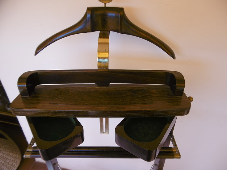 Valet Stand - Brass and Dark Brown Wood - SOLD
