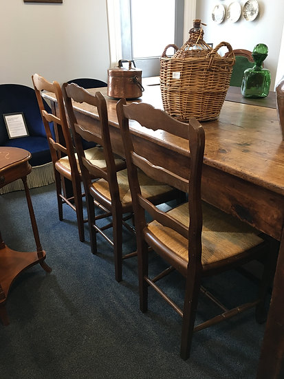 Set of Provençal Dining Chairs - Straw Seating Pads - SOLD
