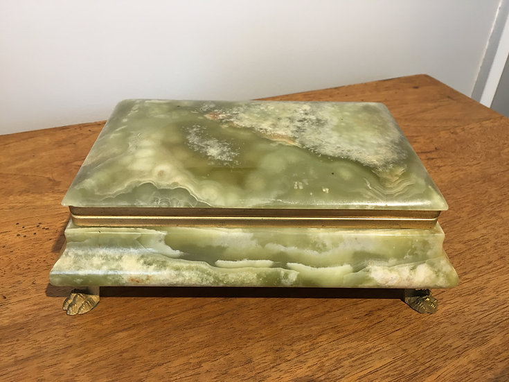 Alabaster & Brass Jewellery Box - SOLD