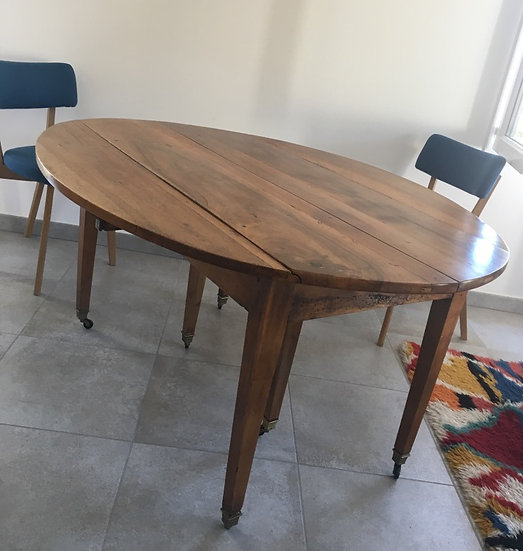 Round Walnut Drop Leaf Dining Table on Caster Wheels - Extendable - SOLD
