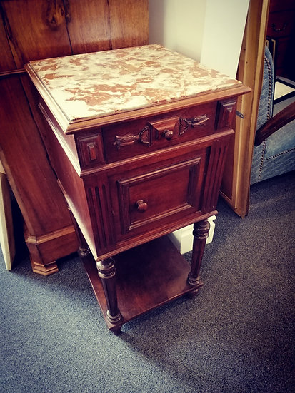 Brown Marble Top Bedside Cabinet