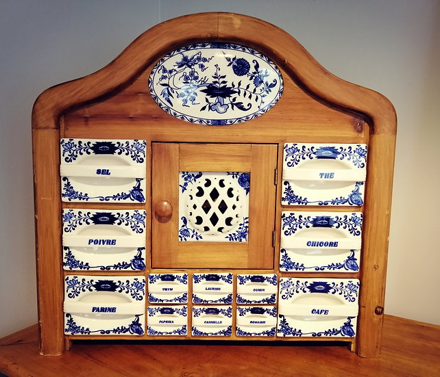 Antique Delft Wooden & Porcelain Kitchen Spice Rack Cabinet