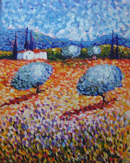 """""""Champs D'Oliviers"""" - Original Oil on Canvas by French Artist Carin - SOLD"""