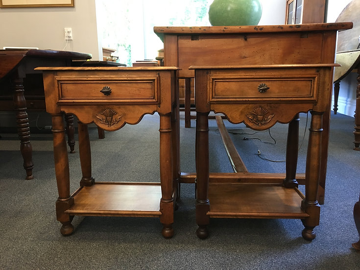 Pair of Sculpted Walnut Wood Bedside Tables - SOLD