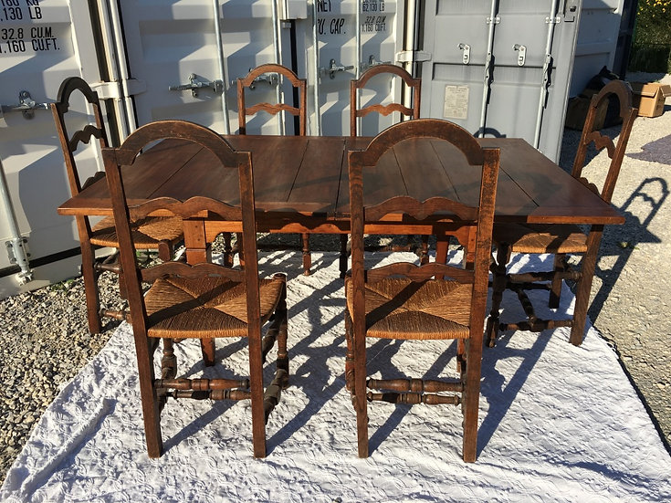 Set of Six Ladder Back Straw-Seat Dining Chairs - SOLD
