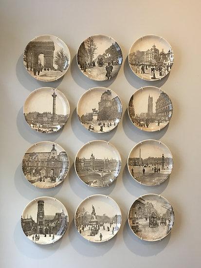 Set of 12 Decorative Plates - Monuments of Paris - SOLD