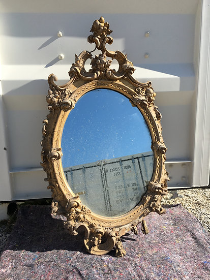 Ornate Floral Theme Oval Mirror - SOLD