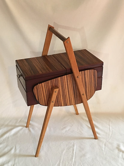 SOLD - 1960s French Sewing Box With Formica Decor