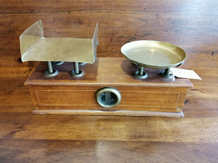 Weighing Scale - Wood & Brass