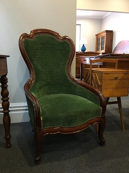 "Louis-Philippe (1830-1848) Style Armchair - Green ""Gaufré"" Velvet Upholstery"