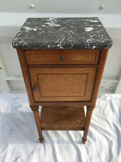 Lemon Tree Wood Veneer  Side Table With Grey Marble Top - SOLD
