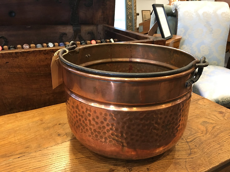 Copper Caldron With Hammered Sides - SOLD