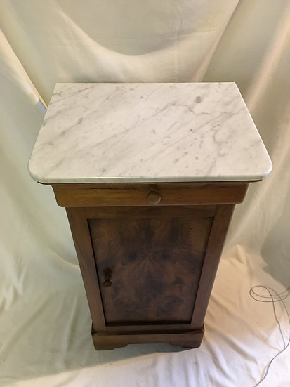 Walnut Bedside Table With White Marble Top - SOLD