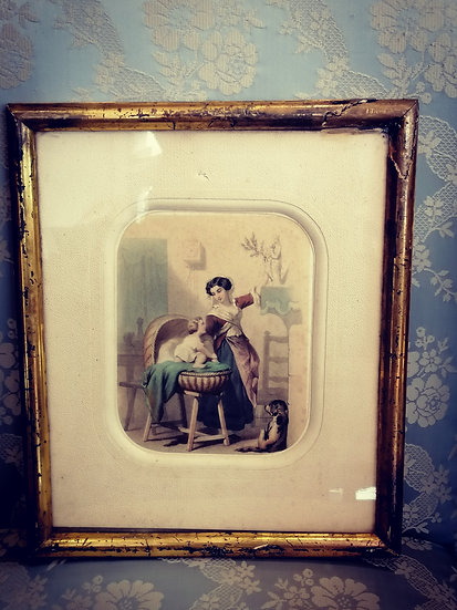 19th Century Colour Image in Golden Frame