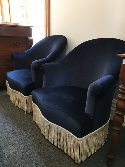 """Pair of """"Crapaud"""" Armchairs In Rich Deep Blue Velvet and Off-White Fringe - SOLD"""